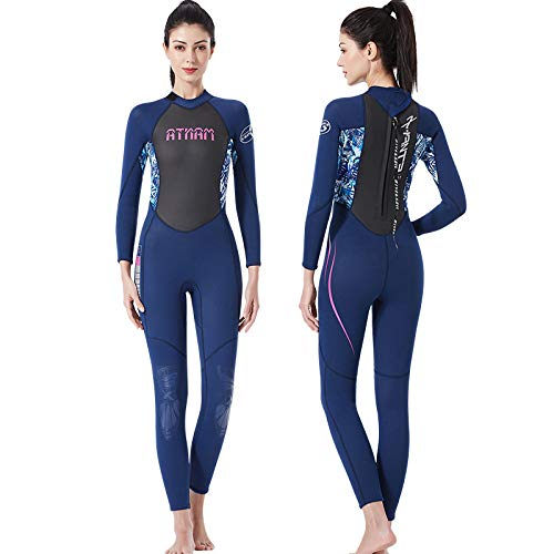JASZHAO Triathlon Suit Neoprene 3mm Wetsuit Sunscreen Warm Surfing Apparel Swimming Women Diving Suit,Blue,L