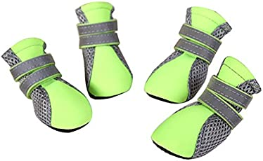 Veena Green L 4PcsLot Breathable Dog Shoes Soft Sole Pet Shoes for Small Puppy Chihuahua Yorkshire Pugs Pet Boots Shoes Product