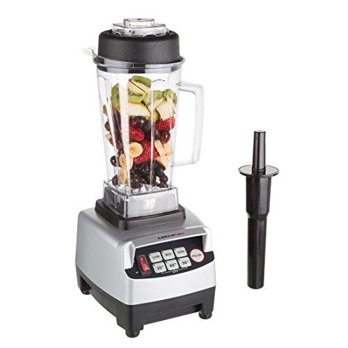 Ultratec Power Mixer Batidora de Vaso Profesional de 2 litros/sin BFA / 1500 W / 22 000 RPM / 6 Cuchillas de Acero Inoxidable/con majadero/Incluye Libro de Recetas de Smoothies, Plástico, Plata