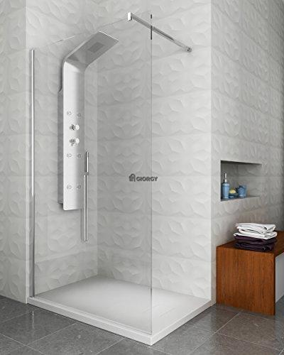 Pannello doccia termostatico idromassaggio con flessibile e doccino incluso soffione cervicale incluso miscelatore a tre vie termostatico