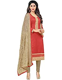 Regalia Ethnic Women's Cotton Dress Material (MFRE141_Free Size_Red)