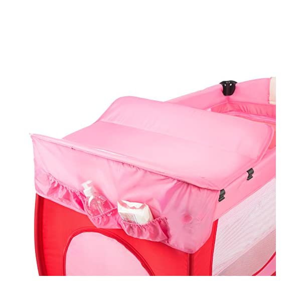 TecTake New portable child baby travel cot bed playpen with entryway -different colours- (Pink) TecTake Suitable for children up to an age of 36 months. Bed Size: 128cm length, 67cm width, 81cm height Changing mat: 68cm length, 51cm width 2