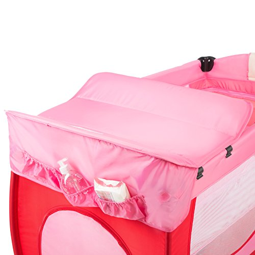 TecTake® Kinder Reisebett höhenverstellbar mit Babyeinlage pink