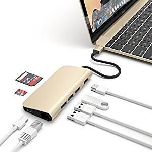 Satechi Adaptateur Multi-Ports 4K HDMI (30Hz), Pass de Type-C, Ethernet