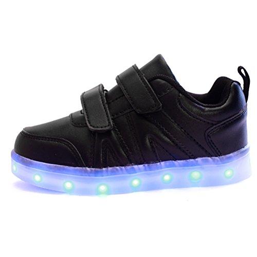 Zhuhaitf Kids Boy Girl 7 Les couleurs LED Light Up Sneaker Athletic Trainers High-top Shoes USB Charging Shoes Black