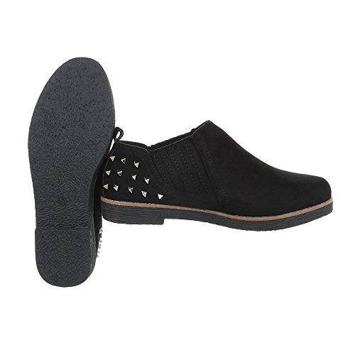 Ital-design Pantofola Scarpe Da Donna Pantofola Tacco Rivetto Borchie Mocassini Neri