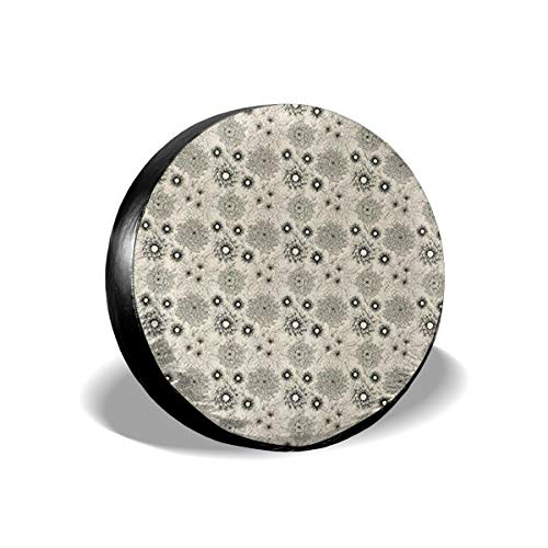Vintage Style Garden Flower Sketches Of Dahlia And Chrysanth 14-17 Inch Tire Covers Tire Protection Wheel Tyre Storage Bag