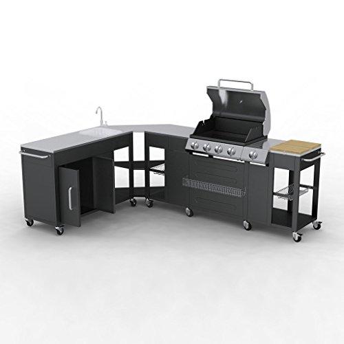 Festnight Outdoor Grillwagen BBQ Grillwagen Barbecue-Grill Gas-Grill aus Edelstahl/Stahl