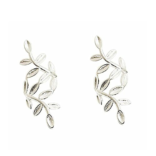 S925 Sterling Silver Leaf Non Piercing Ear Clip Cuff Wrap Earrings(1 Pairs)