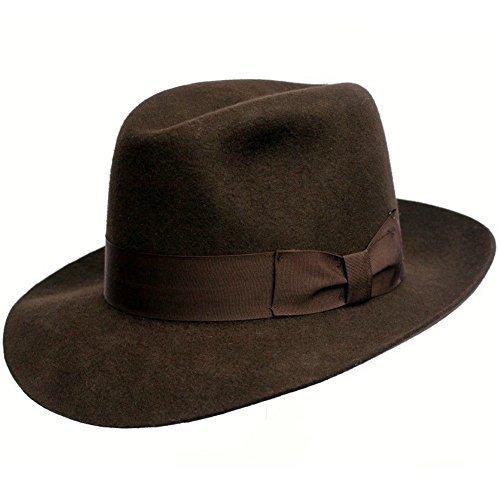 Chapeau Borsalino - Hommes/Unisexe - Superbe qualité - Fait pour Last. 100% Laine. Indiana Jones Style. Large Brim. Marron de Luxe Doublure. Gros-Grai
