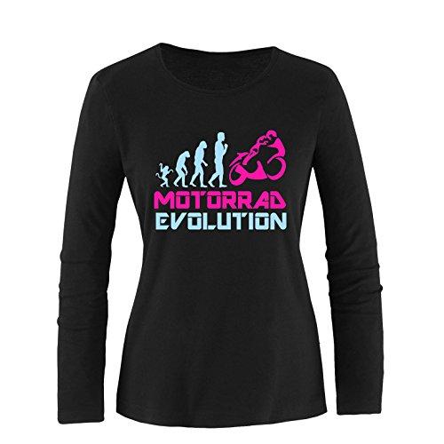 EZYshirt® Motorrad Evolution Damen Longsleeve Schwarz/Hellbl/Pink