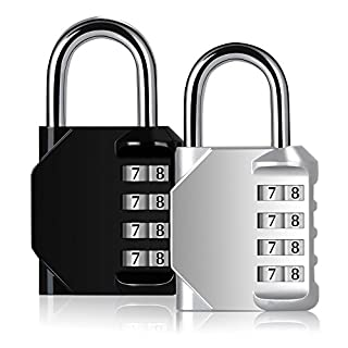 Blingco 2 Pack Combination Lock 4 Digit Anti Rust Padlock Set Security Padlock for School Gates,Gym Door,Outdoor Travel,Luggage,Suitcase