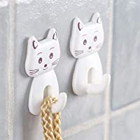 KYMLL 3Pcs Cartoon Cat Door Hooks Durable Self Adhesive Wall Decor Hooks for Kitchen Spoon Sundries Hanger Bathroon Towel Hook