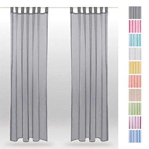 Schlaufenschal Noella, Dekoschal Gardine Transparent Voile 2er Pack, Auswahl: 140x245cm grau - lichtgrau