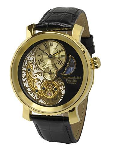 Calvaneo 1583 Herren-Armbanduhr Estaville Gold Analog Automatik Leder schwarz 12548