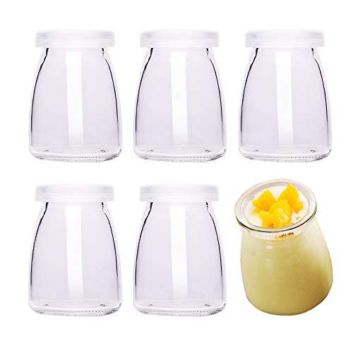 Danmu Art - Botes de cristal para pudin de yogur (6 unidades, 100 ml, con tapas de plástico, tamaño pequeño)