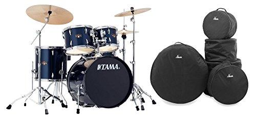 Tama IP50H6N-MNB Imperialstar Drumkit Set inkl. Gigbags (Komplettes Drumset inkl. Hocker, Kessel aus sechslagigem Pappelholz, doppelstrebige Hardware, inkl. Meinl MCS Beckensatz & Gigbags) Midnight Blue