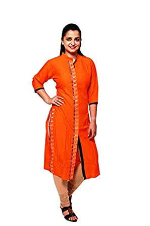Madeesh Rayon Front Slit Kurti For Women With Embroidery Orange Colour
