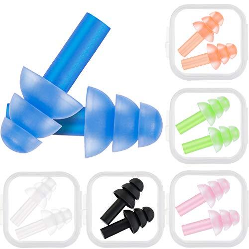 Bememo 6 Paar OhrstöpselLärmAbbrechen Wiederverwendbar Ohrstöpsel zum Schlafen und Schwimmen (MehrfarbigC)
