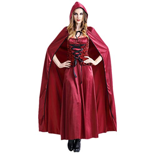 WSFS Mädchen Cosplay Rotkäppchen Kleid-Mantel-Kostüm Sexy Frech Robe Umhang mit Kapuze Königin Erwachsener Halloween-Party (Sexy Frechen Teufel Kostüm)