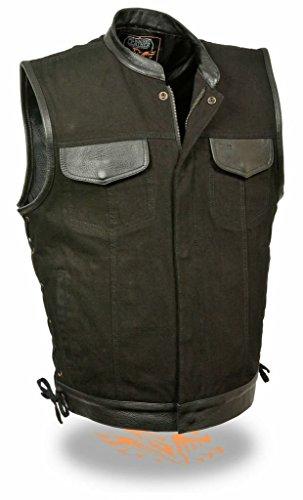 Black Denim Biker Vest with Leather Trim & Side Lacing -