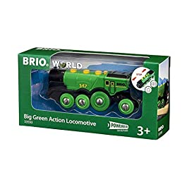 BRIO 33593 Grande Locomotiva a Batterie Verde, BRIO Treni-Vagoni-Veicoli, Età Raccomandata 3+