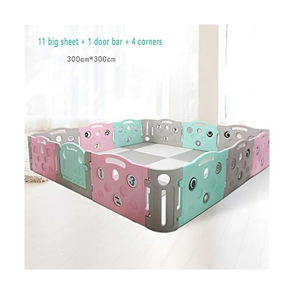 Foldable Baby Fence Plastic Baby Playpen Baby Safety Toddler Fences Indoor Toy Fencing Triple Protection Security Hardening Baby's Playground Suitable For Babies Over 6 Months  ▶ Multi-function: There are cute digital patterns on the bar, which can be used as a stand-alone game fence. The baby can not only play, but also learn and exercise cognitive ability. ▶Safe and secure: Heighten 65cm height, solid fence, prevent baby from turning out, HPDE environmental protection material, rotary switch single open design, prevent baby from opening from inside, safer ▶ Stable: 1cm thick anti-slip rubber pad, increase the friction with the ground, make the fence more firm, and there are card slots between the two plates to ensure that the fence does not shake 1