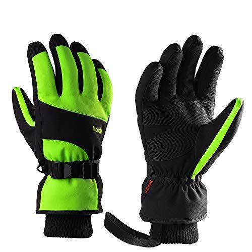 HCFKJ Ski Fäustlinge, Herren Winter Outdoor Dicke Sport Warme Winddichte Skihandschuhe Snowboard Handschuhe (Free, Green)