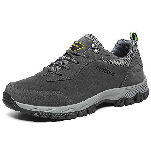 JIANKE Scarpe Trekking Uomo Sportive Antiscivolo Escursionismo All'aperto Sneakers (42 EU, Grigio)