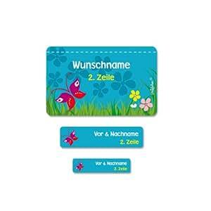 Striefchen® 177 Schuletiketten zum Schulanfang mit Sommerwiese und Wunschname Ideal zur Einschulung oder Schulanfang