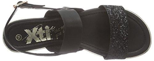 XTI - 45866, Scarpe col tacco con cinturino a T Donna Nero (Nero (Negro))