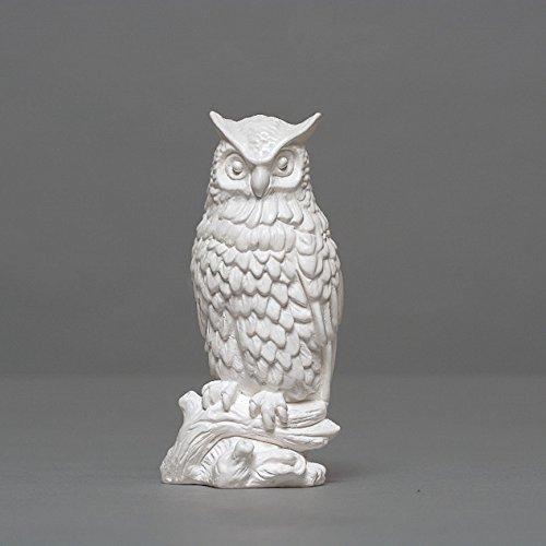 Eule auf Ast Skulptur aus Hochwertigem Zellan, Echte Handarbeit Made in Germany, Büste in Weiß,...