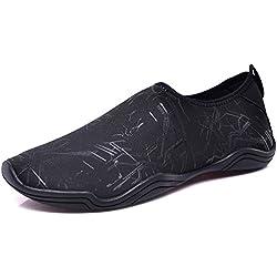 JINDENG Zapatos de Agua Hombre Slip on Suave Calzado Deportivos Acuático Flexible Secado Rápido Playa Surf Yoga Shoes para Unisex(Negro-A,38)