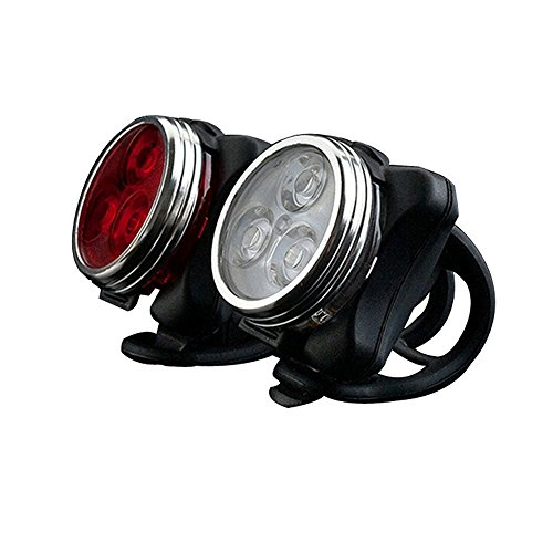 Yakamoz Cyclists USB Rechargeable LED Bike Light Set Waterproof - White Headlight and Red Taillight
