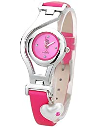DK Heart Pearl Dangle Analogue White Dial Girl's Watch - dk1250