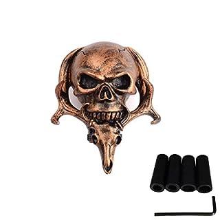 AutoBoy Einzigartiger Schädel Universal Manuell Auto Schaltknauf Schaltkopf für Die meisten manuellen oder automatischen Getriebe ohne Knopf(Copper)