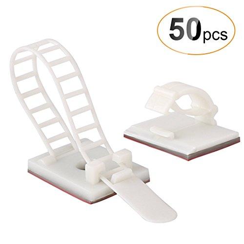 AGPTEK 50/Pack Combinación de Organizador para Cables (25 Unidades Ajustable Cable Tie Monte Adhesivo + 25 Clips de Cable autoadhesivos), Color Blanco