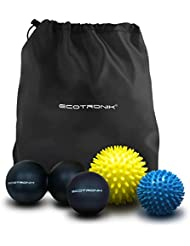 ECOTRONIK Spiky Massage Ball Set - Lacrosse Ball & Peanut Massage Ball Set - Pack Of 4 Balls Perfect for Trigger Point Therapy, Deep Tissue Massage Premium Quality Medical-Grade Materials
