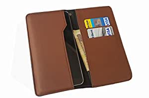 nKarta ™ OD Brown Flip Flap Wallet Pouch Mobile Cover Case with Card holder Slots for Alcatel Pop C7