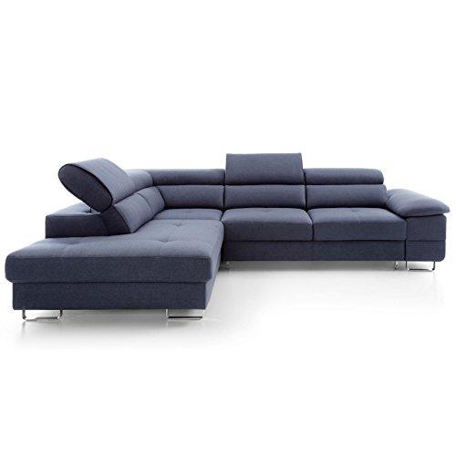 Moebella Ecksofa mit Schlaffunktion und Bettkasten XXL Bosco Designer Wohnlandschaft Schlafcouch Sofa Bettfunktion (Standard)