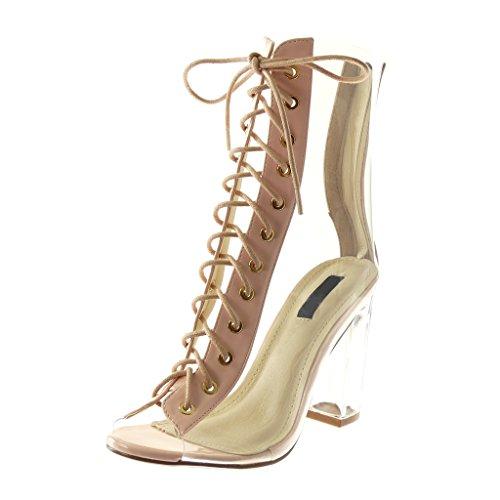 Angkorly Damen Schuhe Stiefeletten Pumpe - Hohe - Peep-Toe - Spitze - Transparent Blockabsatz High Heel 10 cm - Hellrosa B7809 T 36