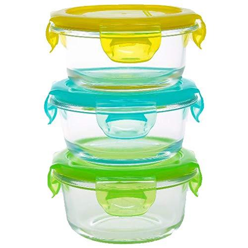 Kooleco – Contenedores de alimentos de vidrio resistente al calor – cuencos 210 ml (3 unidades)