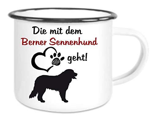 crealuxe XXL - Emaille Tasse mit Rand Die mit Dem Berner Sennenhund Geht - große Kaffeetasse mit Motiv, Campingtasse Bedruckte Email-Tasse mit Sprüchen Oder Bildern