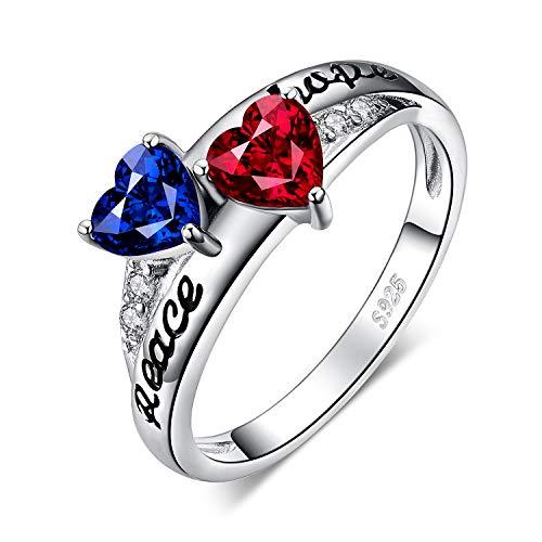 fc89da2de5a5 JewelryPalace Anillo Vintage Entrelazado Paz grabada 0.6ct Rubí Zafiro  Creado Plata de ley 925