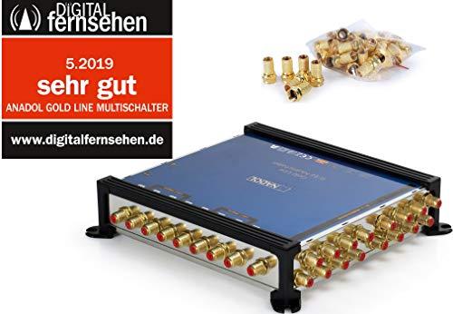 Anadol Gold Line 9/16 digitaler Multischalter [ Test SEHR GUT ] Multiswitch für 2 Satelliten und 16 Ausgänge/Receiver - mit externem Netzteil - 25 vergoldete F-Stecker gratis