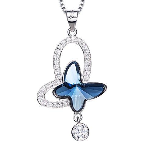 RJewellery Collar De Plata Esterlina Con Cristal Swarovski De Zafiro Azul (Mariposa)
