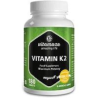 """Vitamina K2 certificata, menachinone MK-7 200 µg ad alto dosaggio, 180 compresse adatte alle persone vegane, confezione scorta da 6 mesi, prodotto di qualità """"Made in Germany"""" privo di magnesio stearato"""