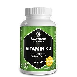 Vitamaze® Vitamina K2 MK-7 Alto Dosaggio Menachinone, 180 Compresse Vegan, Qualità Tedesca, Naturale Integratore…