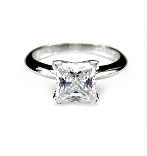 3ct moissanites Simple Prinzessschliff Krappenfassung Solitaire Ring ()