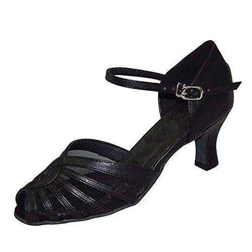 YFF Regalo donne danza scarpe ballo latino ballo tango danza scarpe 6CM Black